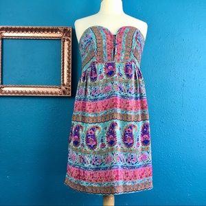 Anthro Maple silk floral paisley print dress, 6